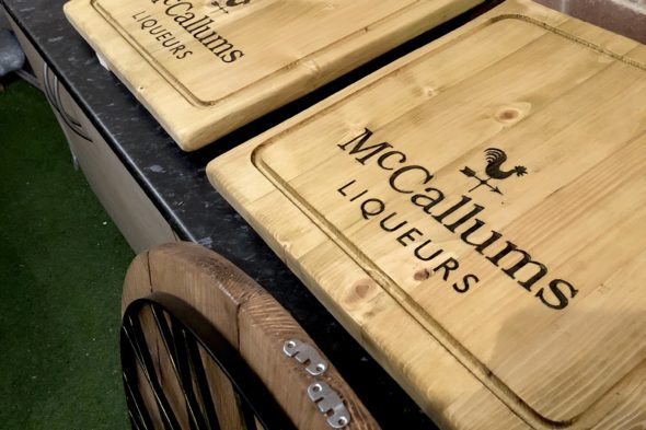 Branded display boards for Mc'Callums Liqueurs