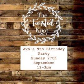 Ava's 9th Birthday party Sunday 27th September 12-3pm