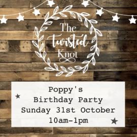 Poppy's Birthday Party Sunday 31st October 10-1pm